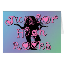Junior High Rocks - Hearts Flowers Card