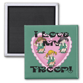 Junior I Love My Troop Heart 2 Inch Square Magnet