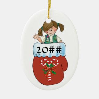 Junior Mitten Brunette Double-Sided Oval Ceramic Christmas Ornament