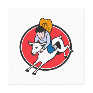 Junior Rodeo Cowboy Riding Sheep Stretched Canvas Prints