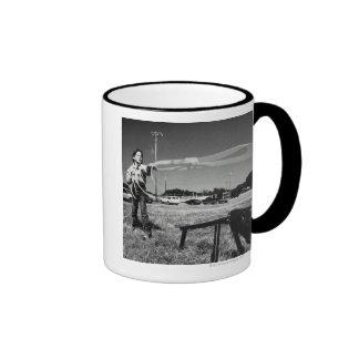 Junior Rodeo, girl(7-9)practising how to use Ringer Coffee Mug
