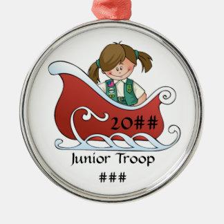 Junior Sled Brunette Round Metal Christmas Ornament