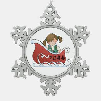 Junior Sled Brunette Snowflake Pewter Christmas Ornament