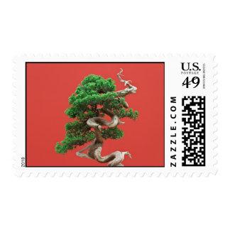 Juniper bonsai postage stamp