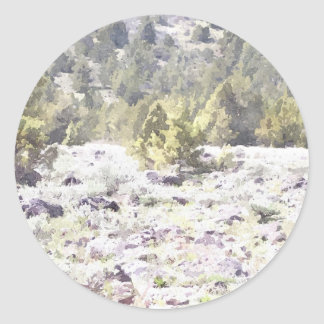 Junipers and Lava Rock in Watercolor Classic Round Sticker