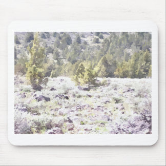 Junipers and Lava Rock in Watercolor Mouse Pad