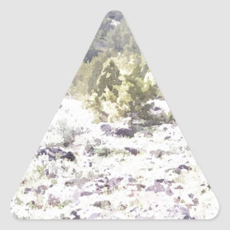 Junipers and Lava Rock in Watercolor Triangle Sticker