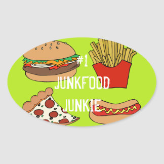 Junk food design oval sticker