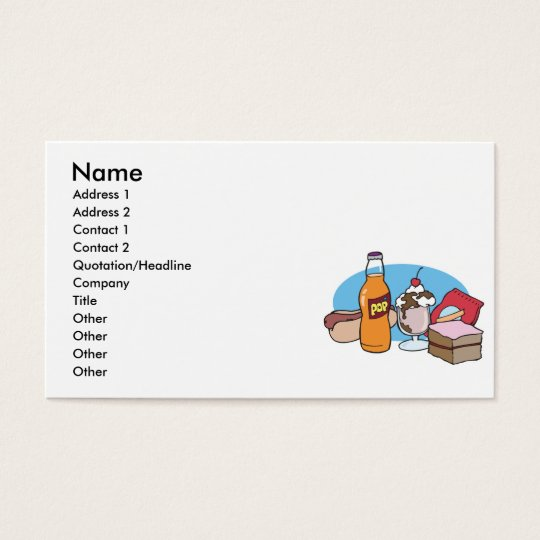 junk food galore business card