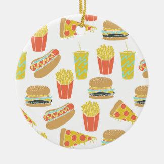Junk Food - Hot Dogs Burgers Fries / Andrea Lauren Ceramic Ornament