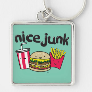 junk food Silver-Colored square keychain