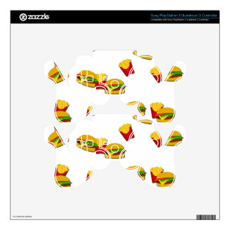 Junk food pattern PS3 controller skins