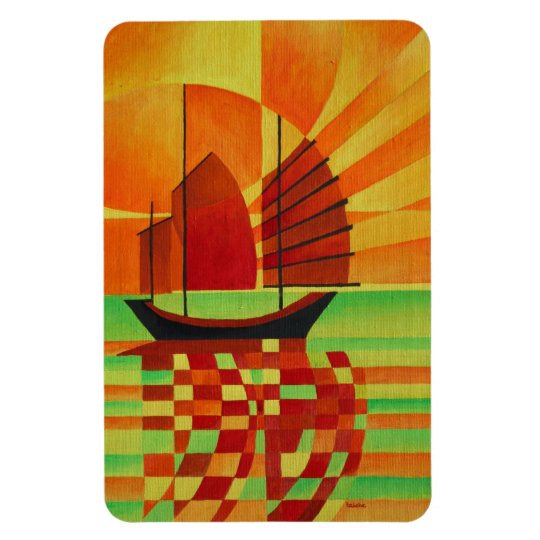 Junk on Sea of Green Cubist Abstract Magnet