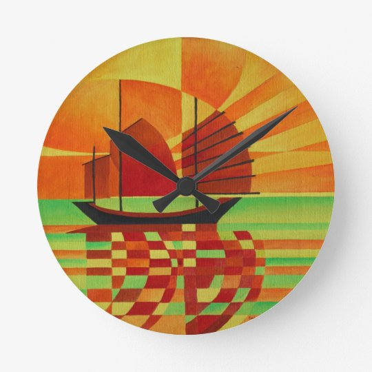 Junk on Sea of Green Cubist Abstract Round Clock
