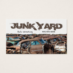 Recycling junk scrap metal business cards templates zazzle junk yard auto wrecking removal recycling metal business card reheart Gallery