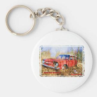 Junk Yard Memories Red Corvair Station Wag Basic Round Button Keychain
