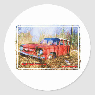 Junk Yard Memories Red Corvair Station Wag Classic Round Sticker