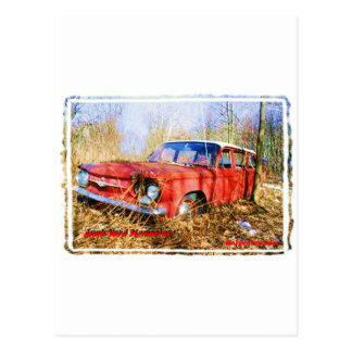 Junk Yard Memories Red Corvair Station Wag Postcard