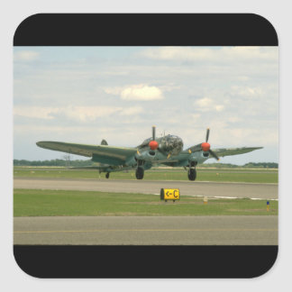 Junkers JU88 On Runway._WWII Planes Square Sticker