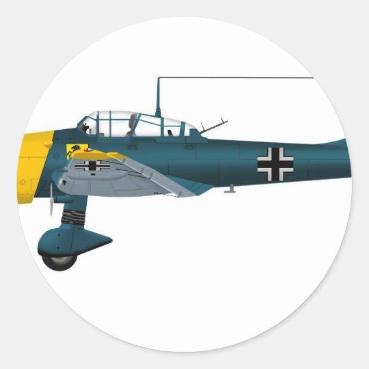 Junkers JU-87 Stuka Classic Round Sticker