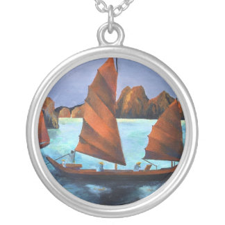Junks In The Descending Dragon Bay Round Pendant Necklace
