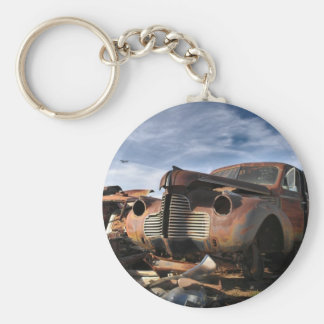 Junkyard Art with F86 saber over fight Key Chain