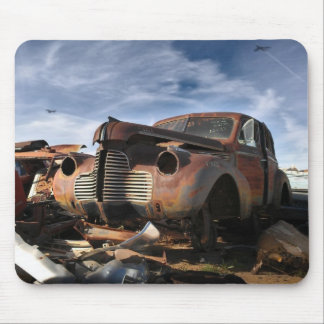 Junkyard Art with F86 saber over fight Mouse Pad