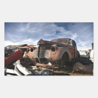 Junkyard Art with F86 saber over fight Rectangular Sticker