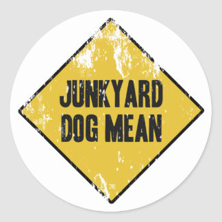 Junkyard Dog Mean Classic Round Sticker