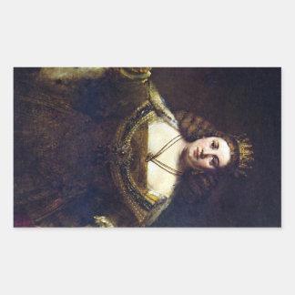 Juno by Rembrandt Harmenszoon van Rijn Rectangular Sticker