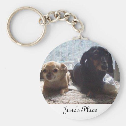Juno y explorador llavero redondo tipo pin