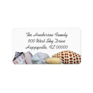 Junonia Seashell Border Wide Return Address Labels