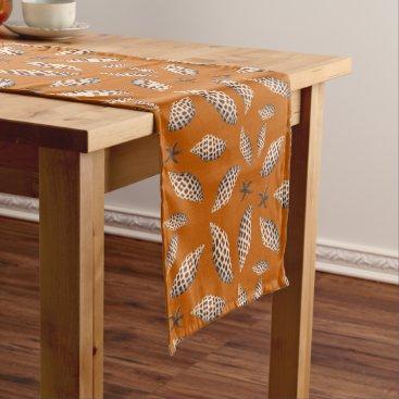 Beach Themed Junonia Seashells Pattern Orange Tropical Table Short Table Runner