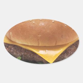 Junta de la hamburguesa pegatina ovalada