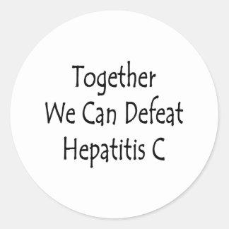Junta podemos derrotar la hepatitis C Pegatina Redonda