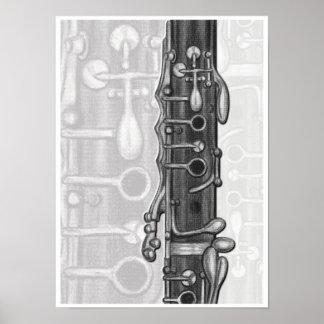 Junta superior del Clarinet en la impresión del Póster