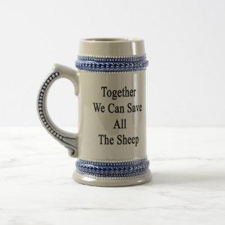 Juntas podemos ahorrar todas las ovejas jarra de cerveza