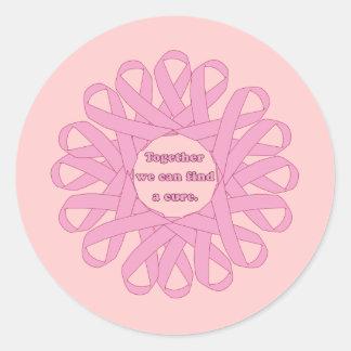 Juntas podemos encontrar cintas de un rosa de la pegatina redonda
