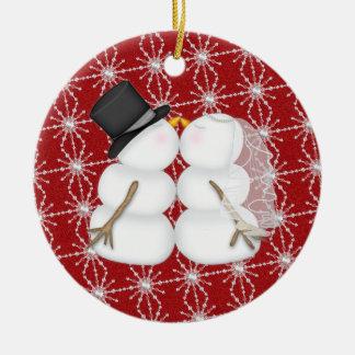 Junte el primer navidad adorno navideño redondo de cerámica
