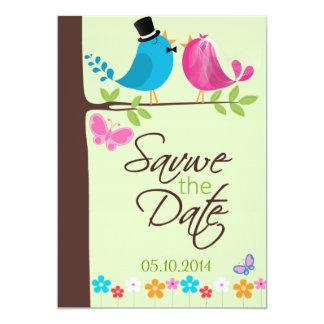 Junte los pájaros en la rama  Save la tarjeta de Comunicado Personalizado