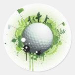 Juntemos con te apagado para el golf pegatina redonda