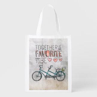 Junto es nuestro lugar preferido a ser bici azul bolsa reutilizable