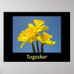 Junto narcisos amarillos inspirados de la impresió posters