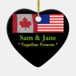 Junto para siempre Canadá y ornamento de la bander Ornaments Para Arbol De Navidad