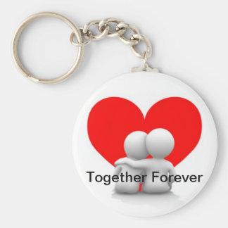 Junto para siempre llavero del corazón