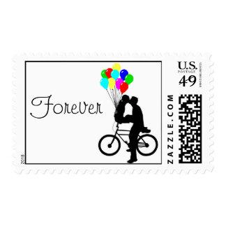 Junto para siempre sello de la bicicleta
