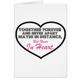 Junto para siempre y nunca aparte ....... tarjeta de felicitación