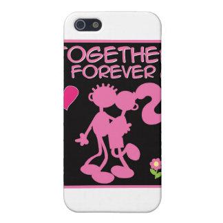 Junto pares rosados de la Para siempre-tarjeta del iPhone 5 Protectores