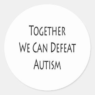 Junto podemos derrotar el autismo pegatina redonda