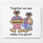 Juntos el amor crece las camisetas y los regalos alfombrillas de ratón